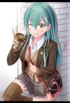 1girl ;< ayakase_hotaru brown_legwear clenched_teeth commentary_request drinking_straw eyebrows_visible_through_hair green_eyes green_hair highres kantai_collection long_hair looking_at_viewer pocketbook solo suzuya_(kantai_collection) teeth