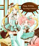 2girls alternate_costume bishoujo_senshi_sailor_moon blonde_hair blue_eyes bow bowtie brown_hat character_name chibi_usa chocolate chocolate_heart choker closed_mouth cropped_legs double_bun dress earrings flower food frills green_bow green_dress green_legwear hair_bow happy_birthday hat heart height_difference ice_cream jewelry long_hair looking_at_viewer macaron mismatched_legwear multiple_girls pink_flower pink_hair pink_rose red_eyes rose sarashina_kau short_hair signature skirt_hold smile standing star star_earrings striped striped_bow striped_legwear thigh-highs top_hat tsukino_usagi twintails v vertical-striped_legwear vertical_stripes vest