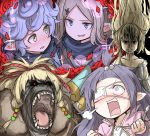 5girls absurdres animalization blonde_hair blue_hair curly_hair eyepatch flower gon-san gorilla granblue_fantasy harvin highres light_brown_hair long_hair lunalu_(granblue_fantasy) mahira_(granblue_fantasy) melissabelle milleore multiple_girls pointy_ears purple_hair rose sahli_lao shaded_face sparkle very_long_hair