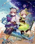 2girls absurdres atelier_(series) atelier_lydie_&_suelle blush boots bow bowtie breasts brush cleavage gloves hairband highres ink long_hair looking_at_viewer lydie_marlen multiple_girls noco_(adamas) official_art open_mouth paintbrush pink_eyes pink_hair ponytail scan short_hair siblings side_ponytail sisters sitting skirt small_breasts smile suelle_marlen thigh-highs twins yellow_bow yuugen