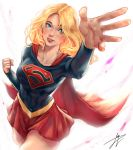 1girl blonde_hair blue_eyes blush breasts cape clenched_hand collarbone commentary cropped_legs dc_comics highres long_hair looking_at_viewer multicolored multicolored_clothes parted_lips red_cape red_skirt skirt solo supergirl trung_doan white_background