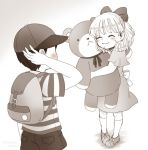 1boy 1girl bear blush child closed_eyes couple hat hug love monochrome mother_(game) mother_2 ness paula_(mother_2) ribbon sayoyonsayoyo short_hair smile stuffed_animal stuffed_toy teddy_bear