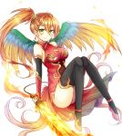 1girl bird_wings black_legwear breasts china_dress chinese_clothes cleavage_cutout commentary_request dress elbow_gloves fingerless_gloves flaming_sword gloves green_eyes hair_between_eyes highres kanataww large_breasts leilan_(p&d) long_hair orange_hair puzzle_&_dragons side_ponytail smile solo thigh-highs wings