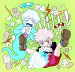 2boys artist_name black_shirt brothers clenched_teeth crying cuphead cuphead_(game) drinking_straw ghost gijinka gloves green_background halo heart humanization long_sleeves male_focus mugman multiple_boys open_mouth personification shirt siblings simple_background teeth white_gloves white_hair