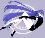 1other androgynous blue_eyes blue_hair elbow_gloves gem_uniform_(houseki_no_kuni) gloves hand_in_hair hime_cut houseki_no_kuni lapis_lazuli_(houseki_no_kuni) long_hair looking_at_viewer necktie smile solo very_long_hair