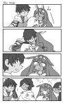 >_< 2boys 2girls 4koma animal_ears arash_(fate) blush cape comic crying dark_skin dark_skinned_male fate/grand_order fate/prototype fate/prototype:_fragments_of_blue_and_silver fate_(series) flower greyscale hair_flower hair_ornament highres jackal_ears kiss kiss_day long_hair medjed monochrome multiple_boys multiple_girls nefertiti_(fate/prototype_fragments) nitocris_(fate/grand_order) nutarou ozymandias_(fate) puckered_lips