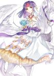 1girl bare_shoulders bride dress fire_emblem fire_emblem:_souen_no_kiseki fire_emblem_heroes flower gloves hair_flower hair_ornament headband highres horse jnsghsi long_hair pegasus_knight purple_hair sanaki_kirsch_altina smile solo veil wedding_dress white_flower white_gloves wings yellow_eyes