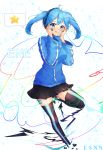1girl :q :t black_skirt blue_eyes blue_hair blue_jacket blush breasts character_name digital_dissolve ene_(kagerou_project) esanano facial_mark full_body hands_on_own_cheeks hands_on_own_face headphones highres jacket kagerou_project long_sleeves medium_breasts medium_hair miniskirt one_leg_raised signature skirt smile solo spoken_star thigh-highs tongue tongue_out track_jacket twintails zipper