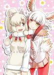 2girls alpaca_ears alpaca_suri_(kemono_friends) animal_ears bird_tail black_eyes brown_eyes closed_mouth commentary_request cover cover_page doujin_cover eyebrows_visible_through_hair floral_background frilled_sleeves frills fur-trimmed_sleeves fur_collar fur_trim gloves gradient_hair hair_over_one_eye hands_on_another's_shoulders head_wings horizontal_pupils japanese_crested_ibis_(kemono_friends) kemono_friends looking_at_another looking_back miniskirt multicolored_hair multiple_girls neck_ribbon pantyhose pink_skirt pleated_skirt red_gloves red_legwear red_ribbon redhead ribbon shirt shorts skirt smile standing sweater translated umekichi v-neck white_hair white_shirt white_shorts white_sweater wide_sleeves yellow_eyes