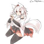 1girl animal_ears artist_name fang hair_between_eyes houkai_(collapse_illust) inubashiri_momiji looking_at_viewer open_mouth short_hair signature sketch smile solo tail thigh-highs touhou white_background white_hair wolf_ears wolf_tail