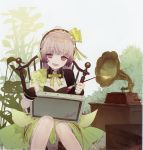1girl absurdres art_brush atelier_(series) atelier_lydie_&_suelle bow canvas_(object) chair hairband highres huge_filesize long_hair noco_(adamas) official_art paintbrush painting palette pink_eyes pink_hair scan sitting suelle_marlen yuugen