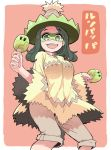 1girl :d dancing eyebrows_visible_through_hair feet_out_of_frame green_eyes green_hair grey_shorts hare_(tetterutei) hat highres holding holding_instrument instrument legs_apart long_sleeves looking_at_viewer ludicolo maracas mask music open_mouth orange_background personification playing_instrument pokemon shawl shorts simple_background smile solo standing wide_sleeves
