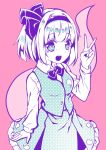 1girl :d bangs blouse blunt_bangs blush bob_cut bow bowtie breasts collared_blouse commentary_request cowboy_shot dot_nose eyebrows_visible_through_hair eyelashes fingernails hair_intakes hair_ribbon hairband halftone hand_up highres hitodama konpaku_youmu konpaku_youmu_(ghost) kyouda_suzuka limited_palette long_sleeves looking_at_viewer medium_breasts medium_skirt open_mouth pink_background raised_eyebrows ribbon round_teeth short_hair simple_background skirt skirt_set smile solo standing teeth touhou v vest wing_collar