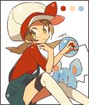 1girl auko border bow brown_hair cabbie_hat closed_mouth color_guide from_side gen_2_pokemon hat hat_bow holding holding_poke_ball kotone_(pokemon) looking_at_viewer marill over-kneehighs poke_ball poke_ball_(generic) pokemon pokemon_(creature) pokemon_(game) pokemon_hgss red_bow red_shirt shirt signature simple_background smile suspenders thigh-highs twintails white_background white_hat white_legwear yellow_eyes