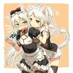 2girls american_flag american_flag_print angry animal_ears apron azur_lane black_dress black_gloves black_legwear blue_eyes blush bow breast_poke cat_ears cat_tail choker dress elbow_gloves fingerless_gloves flag_print flat_chest frilled_apron frills gloves green_eyes hair_bow hammann_(azur_lane) long_hair multiple_girls open_mouth poking print_neckwear puffy_short_sleeves puffy_sleeves red_choker short_sleeves sims_(azur_lane) tail thigh-highs two_side_up waist_apron white_apron white_hair wrist_cuffs yudepii