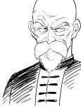 1boy agahari bald beard black_eyes chinese_clothes close-up dragon_ball dragon_ball_(classic) expressionless face facial_hair frown looking_away male_focus monochrome mustache muten_roushi serious simple_background upper_body white_background