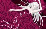 1girl akashiya_moka blanket breasts character_name cleavage copyright_name highres inner_moka large_breasts long_hair naked_sheet pillow rosario+vampire silver_hair sleeping solo under_covers very_long_hair wallpaper