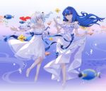 2girls ahoge balusah bili_girl_22 bili_girl_33 bilibili_douga blue_bow blue_hair blue_ribbon bow bracelet bubble closed_mouth clownfish collarbone dress eyebrows_visible_through_hair fish hair_ornament high_heels highres jewelry long_hair looking_at_another looking_at_viewer multiple_girls play_button red_eyes ribbon short_hair short_ponytail side_ponytail smile underwater white_dress
