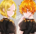 2others androgynous blonde_hair colored_eyelashes gem_uniform_(houseki_no_kuni) grey_background houseki_no_kuni looking_at_viewer looking_back morino_bambi multiple_others orange_eyes orange_hair short_hair smile twitter_username upper_body wavy_hair yellow_diamond_(houseki_no_kuni) yellow_eyes zircon_(houseki_no_kuni)