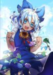 1girl :d ahoge bangs blouse blue_bow blue_dress blue_eyes blue_flower blue_hair blue_sky blurry blush bow breasts cirno clenched_hands clouds cloudy_sky collared_blouse commentary_request crystal curly_hair day depth_of_field dot_nose dress eyebrows_visible_through_hair eyelashes flower hair_between_eyes hair_bow half_updo hands_up ice ice_wings kyouda_suzuka large_bow light_blue_hair looking_at_viewer looking_down neck_ribbon open_mouth outdoors puffy_short_sleeves puffy_sleeves purple_flower red_neckwear ribbon round_teeth short_dress short_hair short_sleeves sky small_breasts smile solo standing sunflower teeth touhou v-shaped_eyebrows white_blouse wing_collar wings