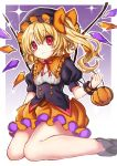 1girl :3 alternate_color ankle_boots bangs bare_legs black_footwear black_hat black_shirt blonde_hair blush boots breasts bubble_skirt cleavage closed_mouth commentary_request crystal curly_hair dot_nose double-breasted eyebrows_visible_through_hair eyelashes fangs feet_out_of_frame flandre_scarlet frilled_hat frilled_shirt_collar frills from_side gradient gradient_background hair_between_eyes halloween hat holding knees_together_feet_apart kyouda_suzuka looking_at_viewer looking_to_the_side mob_cap neck_ribbon orange_skirt outside_border puffy_short_sleeves puffy_sleeves purple_background raised_eyebrows red_eyes red_neckwear ribbon shirt short_hair short_sleeves side_ponytail simple_background sitting skirt small_breasts smile solo sparkle touhou underbust wariza white_border wings wrist_cuffs