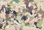 5girls alternate_color alternate_eye_color antenna_hair auko bare_arms bare_shoulders baseball_cap bike_shorts bike_shorts_under_shorts black_hair black_legwear black_shirt black_vest blue_eyes bow bracelet brown_hair buneary cabbie_hat collarbone cutoffs double_bun gen_2_pokemon gen_4_pokemon gen_5_pokemon gothita green_bow green_footwear green_hairband green_ribbon green_scarf green_shirt hairband haruka_(pokemon) hat hat_bow heterochromia hikari_(pokemon) jewelry joltik kneehighs kotone_(pokemon) mei_(pokemon) multiple_girls open_clothes open_vest over-kneehighs overalls pantyhose pantyhose_under_shorts poke_ball poke_ball_(generic) pokemon pokemon_(creature) pokemon_(game) pokemon_bw pokemon_bw2 pokemon_dppt pokemon_hgss pokemon_oras ponytail raglan_sleeves ribbon scarf shirt shoes short_shorts shorts signature straight_hair tank_top thigh-highs togepi touko_(pokemon) twintails vest white_hat white_legwear white_shirt white_shorts wristband yellow_eyes yellow_shorts