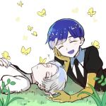 2others androgynous bangs blue_hair blunt_bangs bug butterfly cairngorm_(houseki_no_kuni) chin_rest closed_eyes gem_uniform_(houseki_no_kuni) golden_arms grass grey_hair happy houseki_no_kuni insect lying multiple_others necktie on_back on_stomach open_mouth phosphophyllite phosphophyllite_(ll) short_hair silver_hair sleeping smile spoilers thick_eyebrows tpi_ri white_background