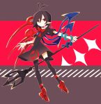1girl :/ absurdres antenna_hair asymmetrical_wings black_dress black_hair black_legwear bow closed_mouth dress full_body hair_between_eyes highres houjuu_nue mamimu_(ko_cha_22) pointy_ears polearm red_eyes red_footwear short_dress short_hair short_sleeves snake solo thigh-highs touhou trident weapon wings zettai_ryouiki