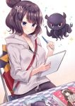 1girl blue_eyes blush book breasts brown_background brown_hair chair eraser fate/grand_order fate_(series) flower gradient gradient_background grey_hoodie hair_bun hair_flower hair_ornament highres holding_notepad katsushika_hokusai_(fate/grand_order) long_sleeves masayo_(gin_no_ame) mechanical_pencil musical_note notepad octopus on_chair pencil short_hair sitting smile solo sparkle sparkle_background white_background