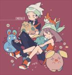 1boy 1girl ^_^ auko azurill bandanna bare_shoulders bike_shorts black_hair black_legwear black_pants brown_eyes brown_hair closed_eyes closed_mouth eyebrows_visible_through_hair fingerless_gloves gen_3_pokemon gloves grin gulpin haruka_(pokemon) hat holding holding_pokemon long_hair on_head orange_gloves orange_shirt pants pokemon pokemon_(creature) pokemon_(game) pokemon_emerald pokemon_on_lap pokemon_rse purple_background shirt shoes short_hair shroomish signature sleeveless sleeveless_shirt smile socks v-shaped_eyebrows whismur white_hat wurmple yuuki_(pokemon)