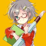1girl ;) awai giant_brush glasses green_eyes green_hairclip grey_hair hair_ornament holding_notepad long_sleeves looking_at_viewer notepad one_eye_closed original paintbrush red-framed_eyewear red_shirt shirt short_hair simple_background smile solo vest white_vest x_hair_ornament yellow_background