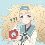 1girl ? blonde_hair blue_background blue_eyes blue_hairband blue_sailor_collar commentary_request dress emia_wang enemy_lifebuoy_(kantai_collection) gambier_bay_(kantai_collection) hairband kantai_collection long_hair sailor_collar sailor_dress shinkaisei-kan simple_background solo twintails
