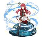 1girl arm_strap arm_up bangs black_footwear black_ribbon blunt_bangs dual_wielding floating_hair hair_ribbon high_heels hime_cut holding holding_sword holding_weapon layered_skirt long_hair maid_headdress miniskirt one_leg_raised pumps rain_(sao) redhead ribbon simple_background skirt solo standing standing_on_one_leg sword sword_art_online thigh-highs weapon white_background white_skirt wrist_cuffs