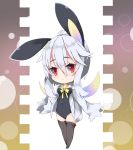 1girl :< animal_ears bangs black_legwear black_leotard blush bow bowtie breasts bunny_girl bunny_tail chibi closed_mouth collared_shirt commentary_request covered_navel dress_shirt eyebrows_visible_through_hair gradient_wings grey_shirt hair_between_eyes leotard long_hair long_sleeves looking_at_viewer medium_breasts milkpanda multicolored multicolored_wings no_shoes open_clothes open_shirt original rabbit_ears red_eyes shirt silver_hair sleeves_past_fingers sleeves_past_wrists solo standing strapless strapless_leotard tail thigh-highs wings yellow_neckwear