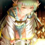 1girl aqua_hair bangs blurry bokeh breasts closed_mouth collarbone depth_of_field downblouse dragon_girl dragon_horns eyebrows_visible_through_hair fate/grand_order fate_(series) green_eyes hair_between_eyes half-closed_eyes horns japanese_clothes kimono kiyohime_(fate/grand_order) leaning_forward light_smile long_hair no_bra panties panty_pull sash small_breasts solo thigh-highs underwear undressing white_legwear white_panties yasuyuki yellow_eyes
