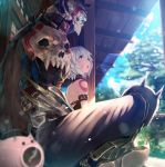 1boy 1girl :o arm_belt arm_strap armor bangs bare_shoulders blurry blurry_background blurry_foreground commentary_request day depth_of_field fate/apocrypha fate/grand_order fate_(series) from_side greaves green_eyes highres indian_style jack_the_ripper_(fate/apocrypha) king_hassan_(fate/grand_order) open_mouth outdoors pauldrons porch scar short_hair silver_hair sitting sitting_on_lap sitting_on_person skull skull_mask sunlight tattoo yasuyuki