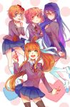 4girls :d :p :t absurdres black_legwear blonde_hair blue_eyes blue_skirt blush brown_hair commentary crossed_arms doki_doki_literature_club english_commentary eyebrows_visible_through_hair green_eyes hair_ornament hair_ribbon hairclip heart highres kneehighs long_hair looking_at_viewer monika_(doki_doki_literature_club) multiple_girls natsuki_(doki_doki_literature_club) open_mouth pen phai pink_hair pleated_skirt polka_dot polka_dot_background ponytail pout purple_hair ribbon sayori_(doki_doki_literature_club) school_uniform shoes short_hair simple_background skirt smile thigh-highs tongue tongue_out very_long_hair violet_eyes white_legwear white_ribbon yuri_(doki_doki_literature_club)