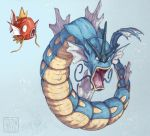 2016 bubble commentary creature english_commentary etherealhaze evolution fangs gen_1_pokemon grey_background gyarados magikarp open_mouth pokemon pokemon_(creature) signature simple_background whiskers
