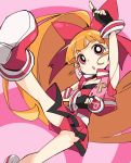 1girl akazutsumi_momoko belt bow commentary_request fingerless_gloves gloves hyper_blossom ixy long_hair open_mouth orange_hair panties pleated_skirt ponytail powerpuff_girls_z red_eyes skirt sleeveless solo underwear very_long_hair vest yo-yo