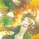 2boys ;d autumn_leaves bandage bandaged_fingers black_hair black_jacket brown_eyes collared_shirt frown gakuran glasses green_hair hand_on_own_chest jacket kuroko_no_basuke leaf long_sleeves looking_at_another looking_at_viewer male_focus midorima_shintarou multiple_boys noeru_(putty) one_eye_closed open_clothes open_jacket open_mouth school_uniform shirt smile takao_kazunari upside-down white_shirt