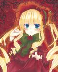 1girl bangs blonde_hair blue_eyes blush bonnet bow bowtie closed_mouth doll_joints drill_hair eyebrows_visible_through_hair fingernails flower green_neckwear hand_up highres lolita_fashion long_hair long_sleeves looking_at_viewer mimi_(mini1474) red_flower red_rose ringlets rose rozen_maiden shinku smile solo thorns twin_drills