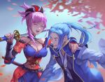 1boy 1girl :d assassin_(fate/stay_night) blue_eyes blue_hair blush breasts cleavage detached_sleeves fate/grand_order fate_(series) hand_on_another's_shoulder holding holding_sword holding_weapon japanese_clothes ji_wuming katana large_breasts laughing long_hair miyamoto_musashi_(fate/grand_order) open_mouth over_shoulder petals pink_hair pixiv_fate/grand_order_contest_2 ponytail scabbard sheath short_hair smile surprised sword sword_over_shoulder weapon weapon_over_shoulder