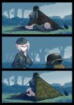 2girls blonde_hair blue_eyes comic commentary erica_(naze1940) garrison_cap hat headwear_removed helmet helmet_removed highres implied_yuri military military_uniform multiple_girls no_pants original outdoors short_hair sleeping stahlhelm tent trowel uniform world_war_ii yuri