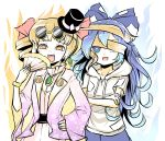 2girls black_hat blonde_hair blue_hair bow commentary crossed_arms drill_hair earrings eyewear_on_head fan folding_fan hand_on_hip hat hat_bow hat_ribbon highres holding holding_fan hood hoodie jacket jewelry long_hair multiple_girls one_eye_covered open_clothes open_jacket open_mouth orange_eyes peroponesosu. purple_jacket ribbon round_eyewear short_sleeves siblings sisters sunglasses top_hat touhou twin_drills white_bow white_ribbon wide_sleeves yellow_eyes yorigami_jo'on yorigami_shion