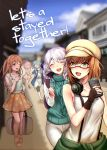 5girls :d ;d ^_^ ankle_strap bag bang_dream! bangs beige_hat black_pants blonde_hair blue_hair blue_shirt blurry blurry_background boots braid brown_footwear brown_hair cabbie_hat capri_pants cellphone closed_eyes clothes_around_waist collarbone commentary_request cover cover_page doujin_cover dragging dress engrish floral_print glasses green_eyes grey_pants half_updo hand_holding hand_on_own_chest handbag hat headphones headphones_around_neck highres hikawa_hina holding holding_bag holding_phone holding_strap house jacket_around_waist jewelry long_hair long_shirt long_sleeves looking_back maruyama_aya multiple_girls necklace nochita_shin one_eye_closed open_mouth outdoors pants pants_under_dress pastel_palettes phone pink_hair plaid plaid_shirt print_skirt ranguage round_teeth running sandals semi-rimless_eyewear shirasagi_chisato shirt short_hair shoulder_cutout skirt smartphone smile suspenders sweater_vest tank_top teeth turtleneck twin_braids under-rim_eyewear upper_teeth violet_eyes wakamiya_eve white_dress white_hair white_tank_top yamato_maya yellow_dress yellow_footwear yellow_skirt