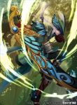 1boy arrow blue_eyes boots bow_(weapon) copyright_name elf feathers force_of_will gloves hat highres ko-ran leaf long_hair low_ponytail male_focus official_art open_mouth pointy_ears quiver solo sword teeth tree weapon white_hair