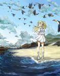 1girl absurdres beach blonde_hair dress eudetenis green_eyes highres lillie_(pokemon) long_hair moon pokemon sun sundress tagme white_dress