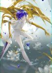 1other absurdres androgynous blue_eyes blue_hair chromatic_aberration colored_eyelashes flower full_body gold golden_arms heterochromia high_heels highres houseki_no_kuni lotus phosphophyllite phosphophyllite_(ll) see-through shards short_hair solo sparkle spoilers sword water weapon white_eyes