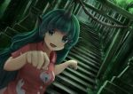 1girl breasts commentary_request dutch_angle eyebrows_visible_through_hair fang forest green_eyes green_hair highres kariyushi_shirt komano_aun light_particles long_hair looking_at_viewer luke_(kyeftss) nature open_mouth outdoors paw_pose rope shimenawa small_breasts solo stairs stone_lantern stone_stairs torii touhou upper_body very_long_hair wing_collar