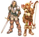 1boy 1girl archer_(fft) armor arrow asymmetrical_clothes bandaid bandaid_on_face belt black_eyes black_hair blonde_hair bow_(weapon) breasts brown_footwear brown_gloves commentary commission english_commentary expressionless facepaint facial_hair feathers final_fantasy final_fantasy_tactics gloves goatee hair_feathers highres holding holding_sword holding_weapon medium_breasts midriff navel quiver robert_porter sheath signature squire_(fft) sword weapon yoshida_akihiko_(style)
